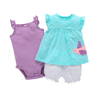 3PCS Infant Body Bebes Girl Clothes Set Short Sleeve And Romper Dress Clothes Cartoon Style Baby