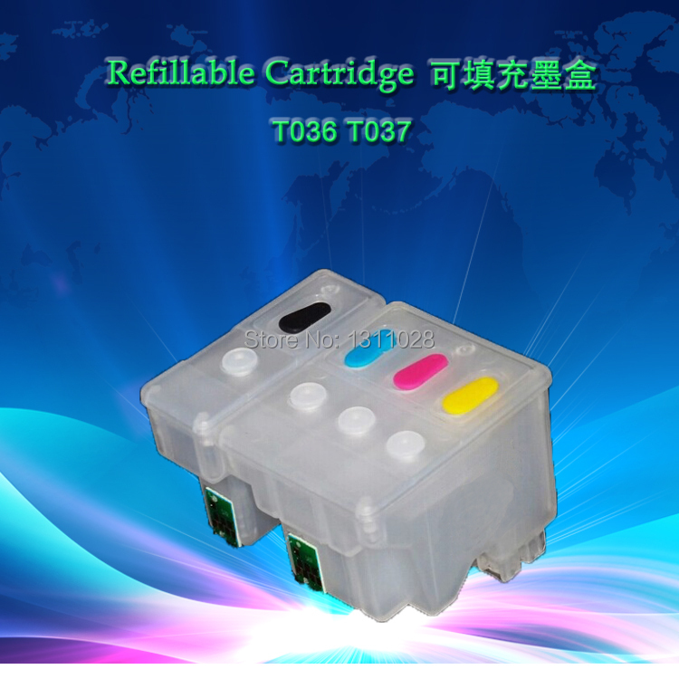 INK WAY T036 T037 Chipped Refillable ink cartridge without ink for Stylus C42 C44 C46,1 SET, 2 PCS