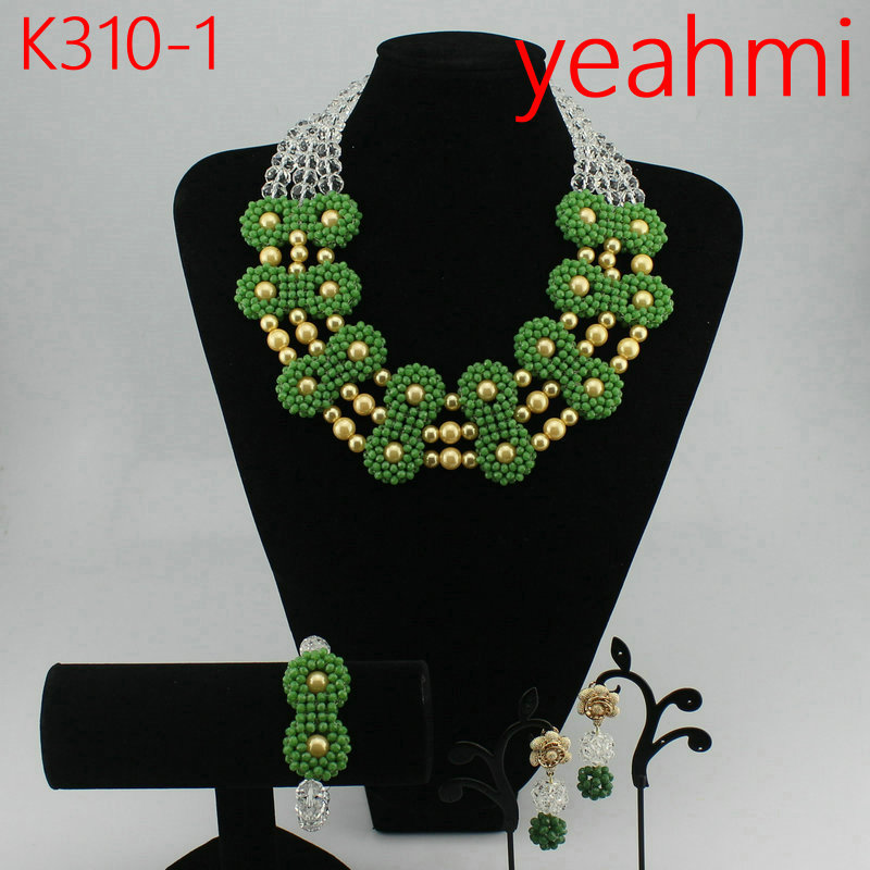 Fashion Bridesmaid Jewelry Set Flower Choker Necklaces Earrings set Nigerian Wedding African Beads Jewelry Set Crystal K310-2Fashion Bridesmaid Jewelry Set Flower Choker Necklaces Earrings set Nigerian Wedding African Beads Jewelry Set Crystal K310-2
