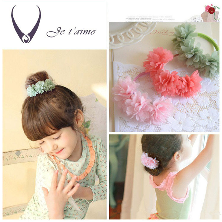 Girls Handmade Elastic Hair Band Bow Knot Flowers Rubber Band Hair  Accessories Headdress Headwear Kids Headband a67c8a7e199