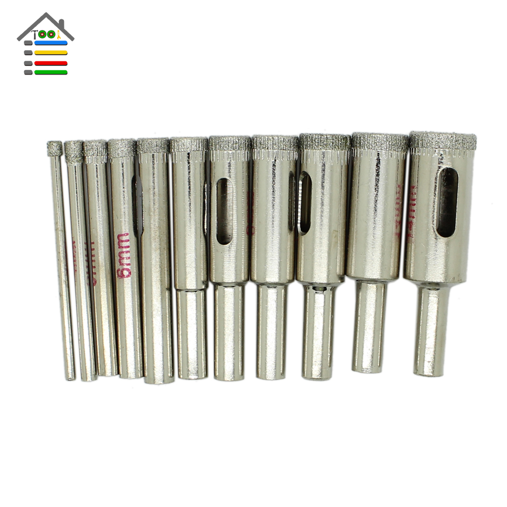 New 11pc Diamond Glass Drill Bit Marble Granite Tile Glasses Metal Hole Saw Core Drill Bit Drilling 3-14mm Cutting Diameter 14pcs set diamond coated hole saw core drill bit tile marble glass ceramic set 3 70mm durable in use metal drilling best price