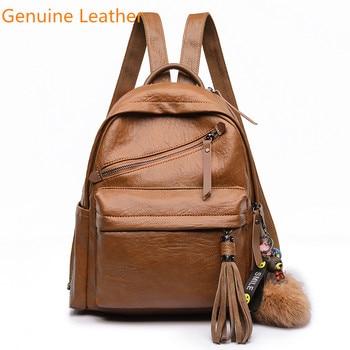 5efdbbf1287d Product Offer. Высокое качество Натуральная кожа Для женщин рюкзак модные  однотонные школьные сумки ...