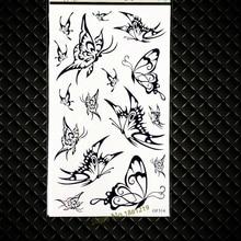 Vivid 3D Black Butterfly Temporary Tattoo Women Makeup Henna Party Tattoo Stickers GGF314 Children Body ARt Tattoo Arm Supplies