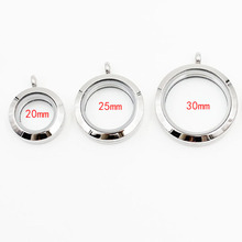 10pcs/lot Locket Pendant wholesale! 30mm/25mm/20mm Screw Stainless Steel Floating Locket Floating Charms Memory Glass Locket