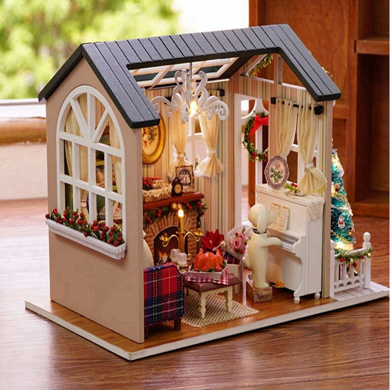 Wooden Christmas 3D Doll House DIY Miniature Thanksgiving Holiday Craft Decor Cottage Kids Gift Living Room Furniture Kit Toy