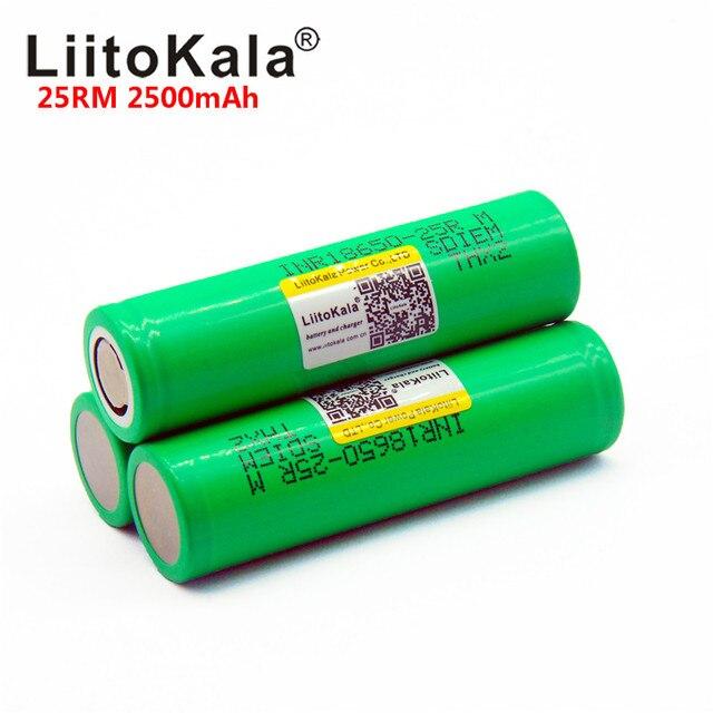LiitoKala nueva marca original 18650 2500mAh batería recargable 3,6 V INR18650 25R M 20A descarga caliente