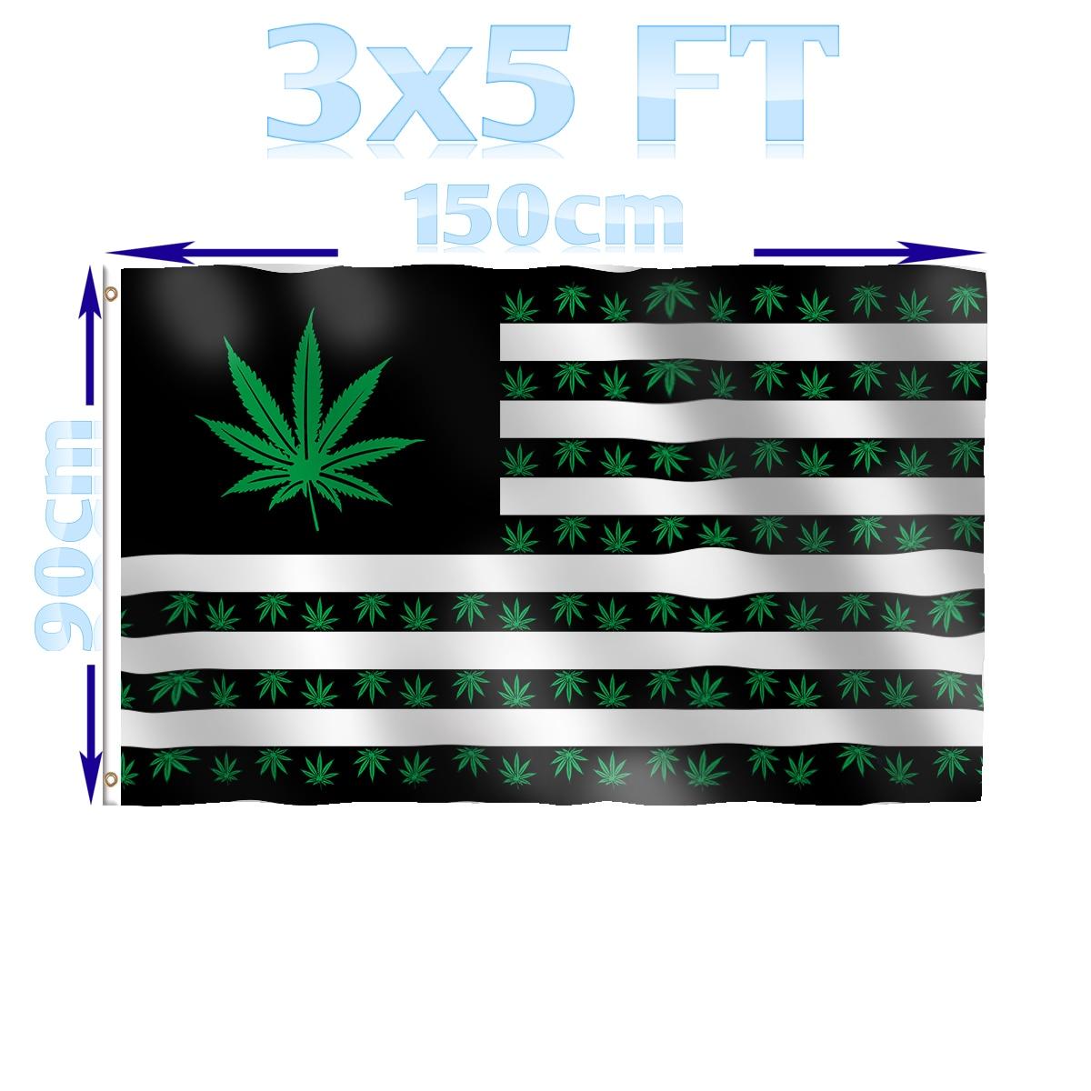 Marijuana USA Pot Leaf Flag 3/' X 5/' Indoor Outdoor Multi-Color Banner