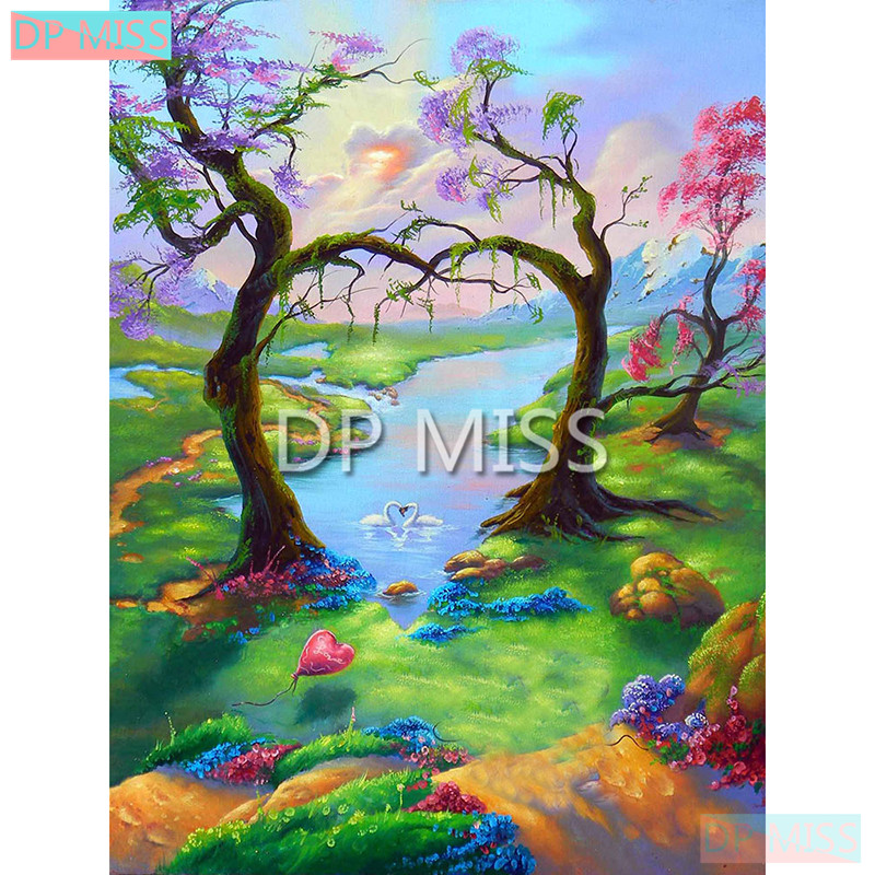 Yikela 5d Diy Full Square Diamond Painting Lake Nature Scenery Embroidery Cross Stitch Mosaic Decoration Last Style Arts,crafts & Sewing Home & Garden