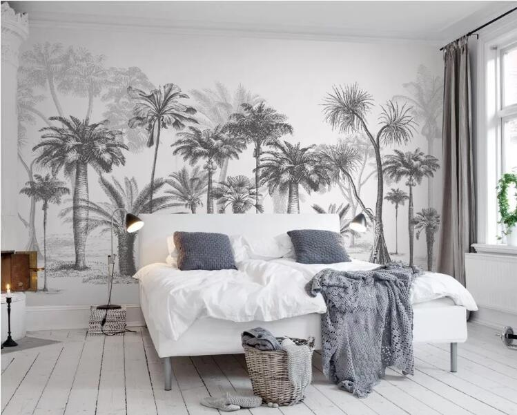 Custom Wallpaper Mural Black And White Sketch Tropical Rainforest Coconut Tree Nordic TV Sofa Background 3d Wallpaper