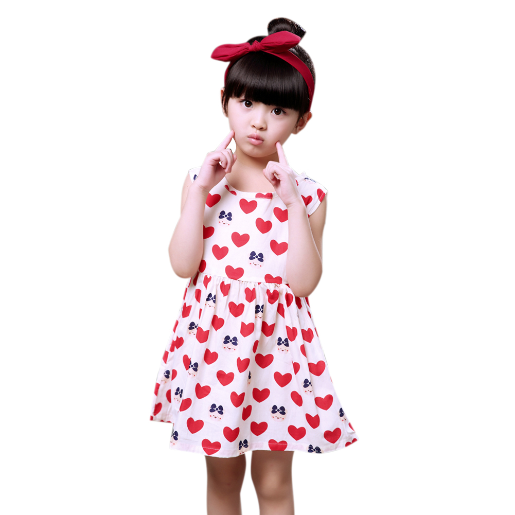 Cute Girls Summer Dress Cotton Children Girls Princess Dress O-neck Sleeveless Heart Bear Kids Dresses For Girls Kids Clothes посуда кухонная