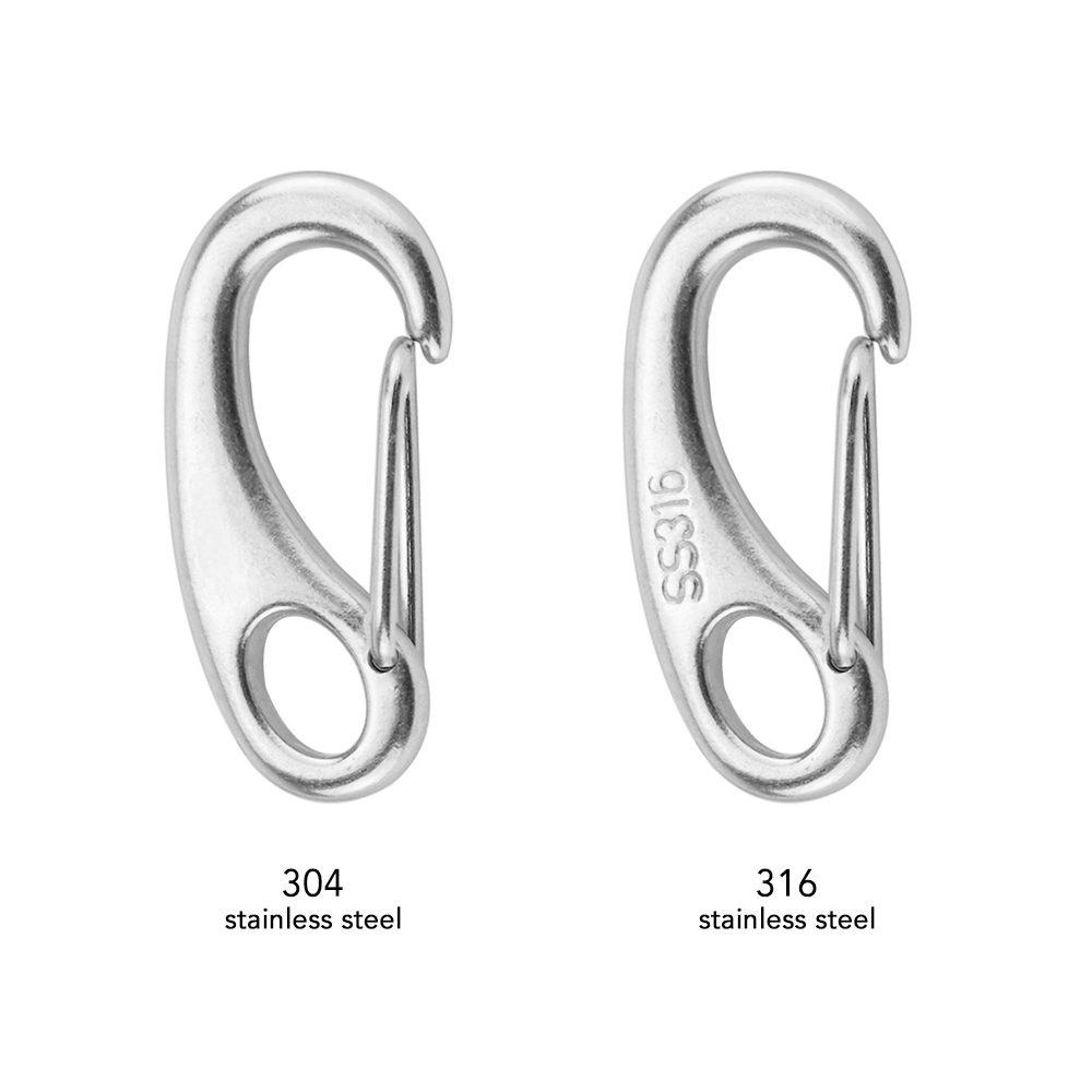Image 5 - 2PCS Stainless Steel Carabiner Spring Snap Hook Clips Quick Link Buckle Eye Clasps Keychain Boat Outdoor Climbing Accessories-in Climbing Accessories from Sports & Entertainment