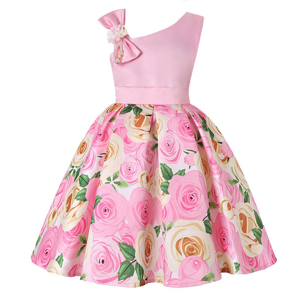 Kids Girls Sleeveless Off Shoulder Bowknot Flower Printing Princess Dress for Wedding Party in Dresses from Mother Kids