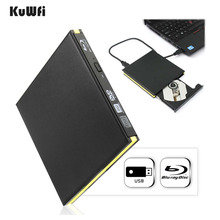KuWFi USB 3.0 Blu-ray Burner Drive External DVD Recorder Writer BD-RE DVD+/-RW DVD-RAM 3D Player for Laptop