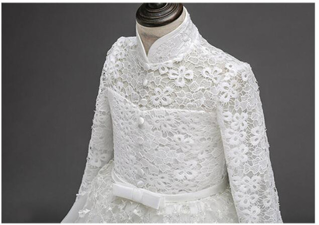 2017 Flower Girl Dress For Wedding Pageant Prom Party White Lace Dress Baby Kids Clothes Toddler Children Events Special Gown