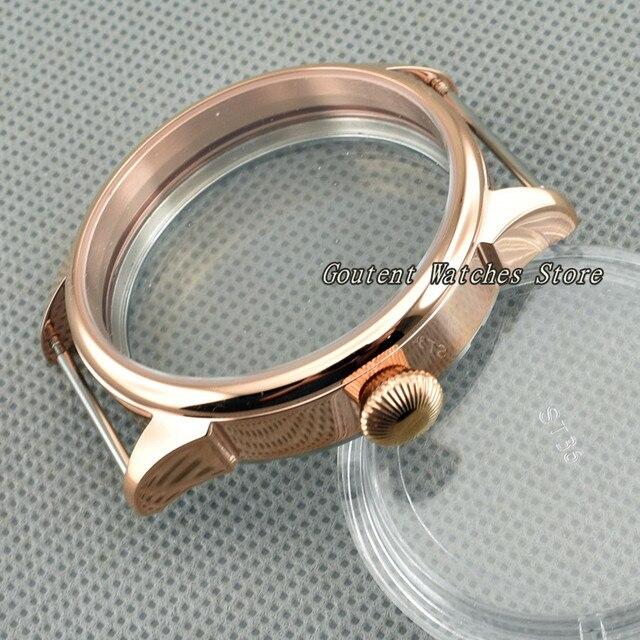 42mm Rose Gold Rvs Horloge Case Fit ETA 6497/6498 Seagull ST36 Beweging Horloge Shell