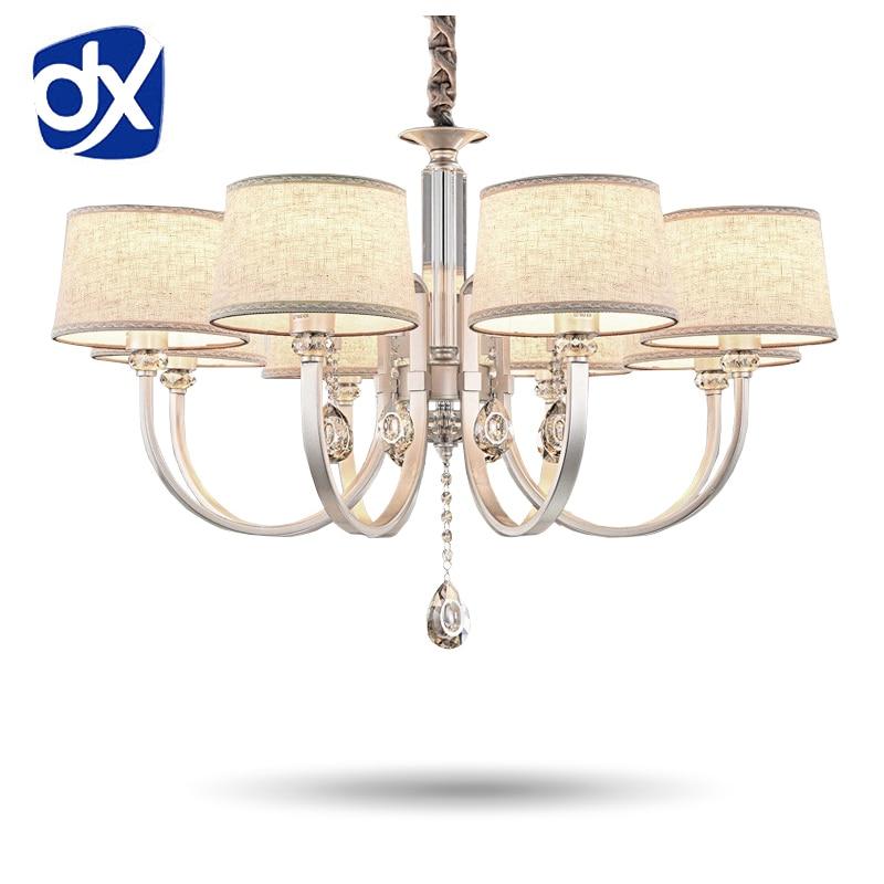 Chandelier Lighting Linen Fabric Lampshade Modern Chandelier Lamp Crystal Chandelier Living Room Lamp Life