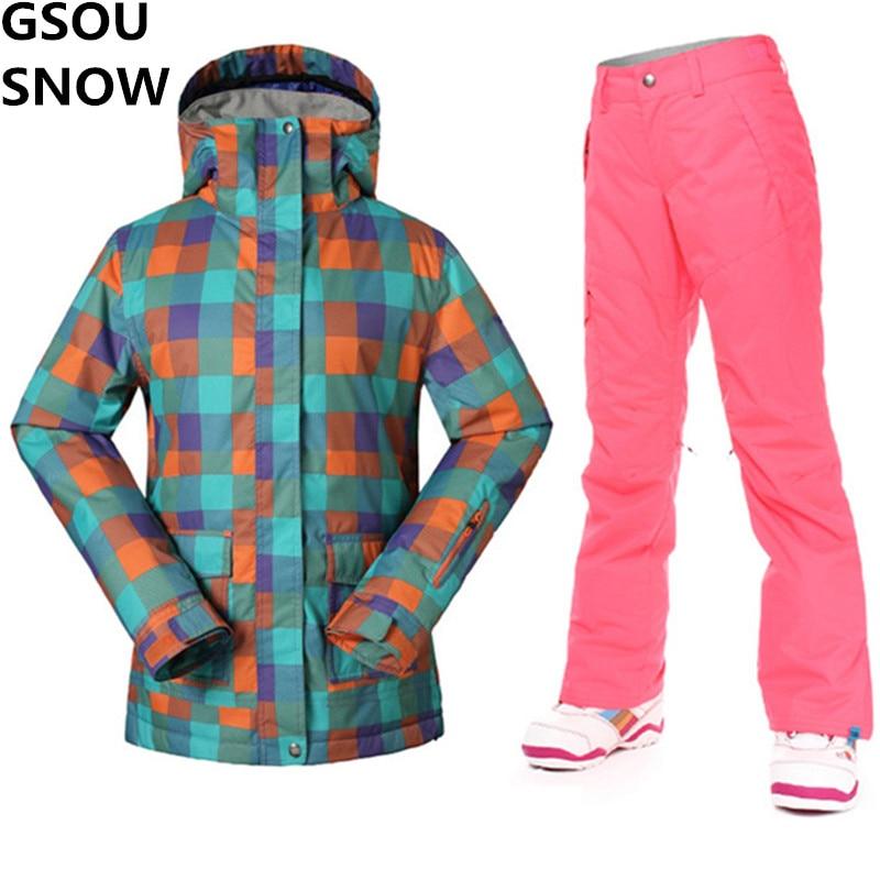 GSOU SCHNEE Ski Jacke + Pants Frauen Winter Super Warm