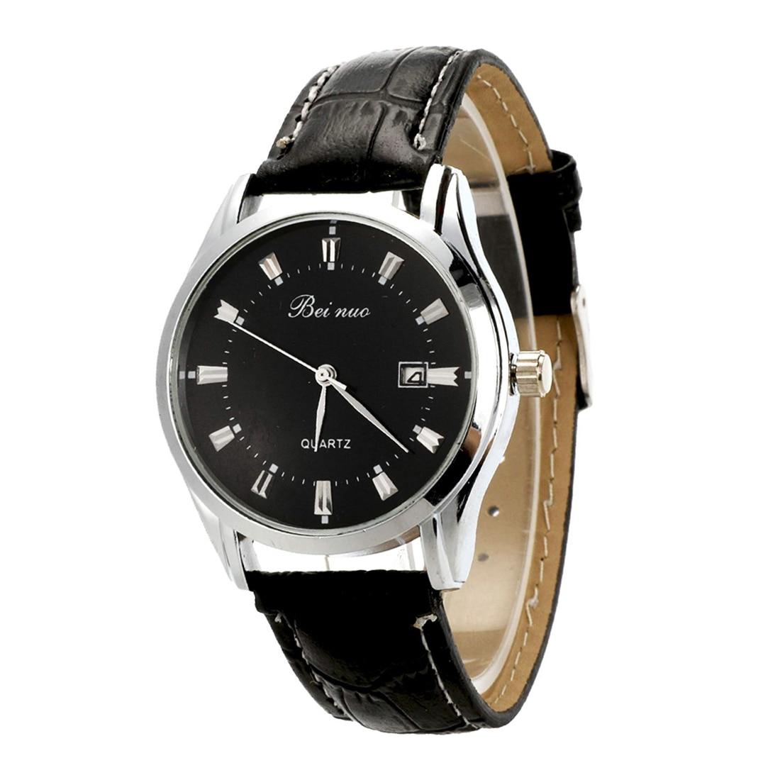 Beinuo Men Boy Sport Analog Quartz Alarm Auto Day Date Display Wrist Watch Leather band Black+Black цена и фото