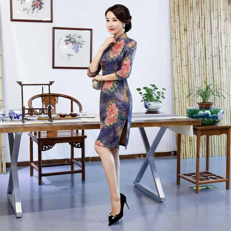 d67542a4b6a ... New Arrival Chinese Traditional Dress Vintage Design Short Cheongsam  Silk Charming Evening Dresses China Dress Qipao ...