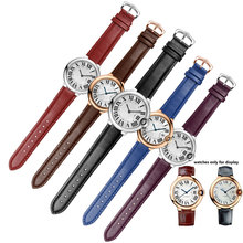 Color striped strap with pin buckle quality genuine leather watchband replacement Cartier wristband female bracelet