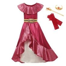 Girl Dress For Elena Princess Elena War Cosplay Sets Children Ruffles Sleeveless Red Maxi Frocks Fancy Party Clothing 3 12T