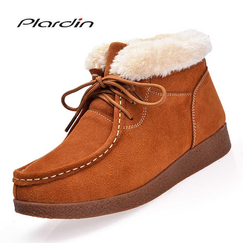 Plardin2019 ผู้หญิงฤดูหนาวรองเท้าข้อเท้าหนังผู้หญิงหนัง Plush Warm รองเท้าบู๊ตรถจักรยานยนต์แบน Antiskid รองเท้า Snow Boots