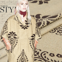Weaving Wool Blend Fabric Floral Pattern Retro Style Nation Style Linen Brown Sew For Coat Dress