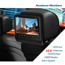 "10.6 Inch DVD Car Headrest Monitor Display 10.6"" LCD Monitor Display Car Pillow Monitor Support USB MP3 MP5 car Styling"