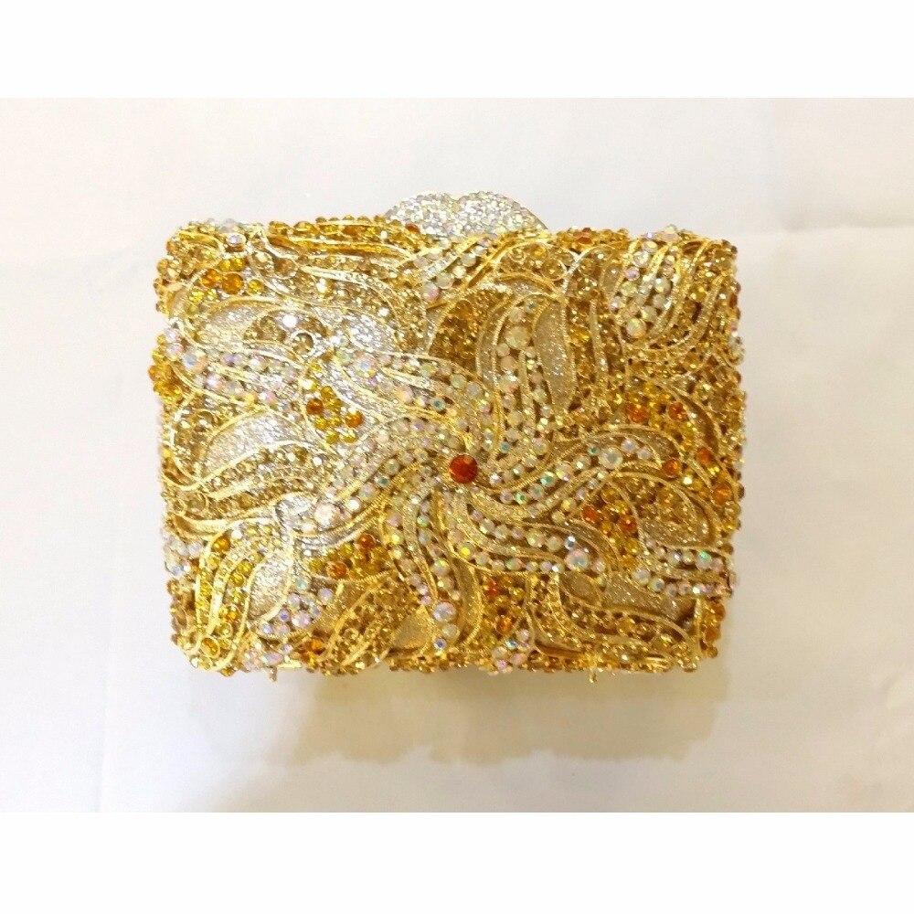 ФОТО 8356BG Gold & WhiteAB Crystal Flower Floral lady Fashion Bridal hollow gold Metal Evening purse clutch bag box case handbag