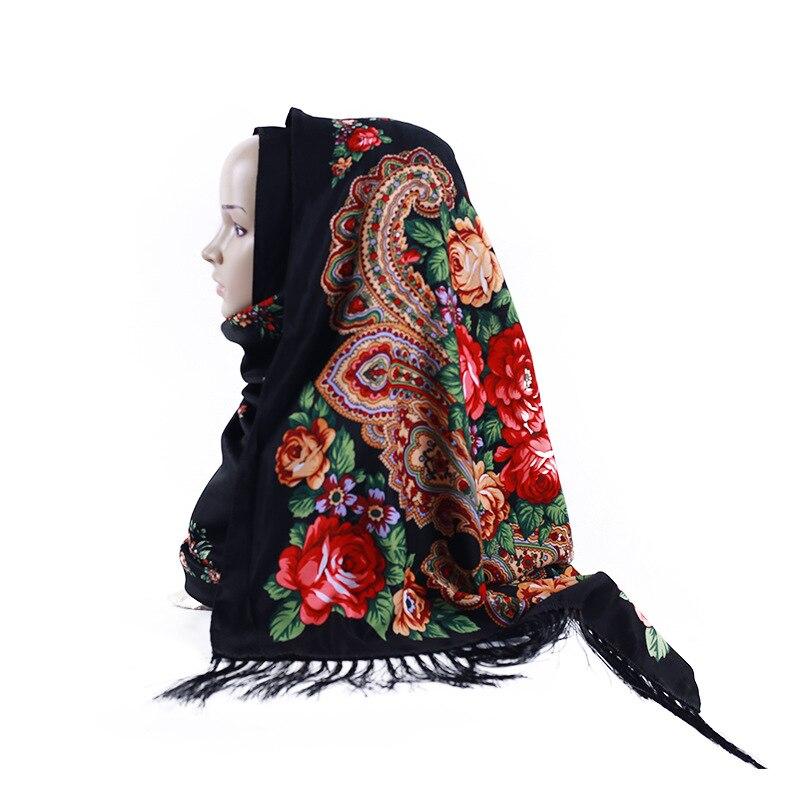 Foulard en soie sergé hijab froissé imprimé longue écharpe twill coton frangé châle Rose gland foulard de luxe foulard femme musulman