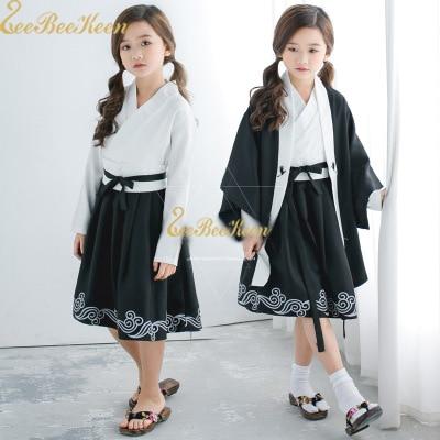 Child Kimono Dress Girls Kimono Mujer Cool Children Halloween Cosplay Costume Kids Anime Costume Black Lolita Dress