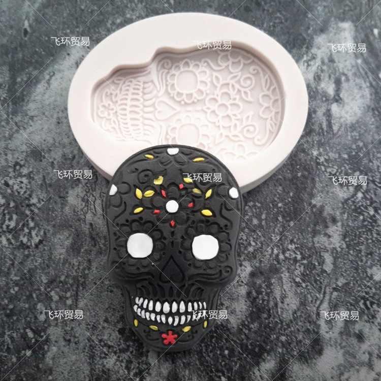 Luyou الجمجمة سيليكون فندان العفن ، الراتنج الطين حلوى الشوكولاته كعكة العفن ، أقراص سكرية كعكة تزيين أدوات FM1143