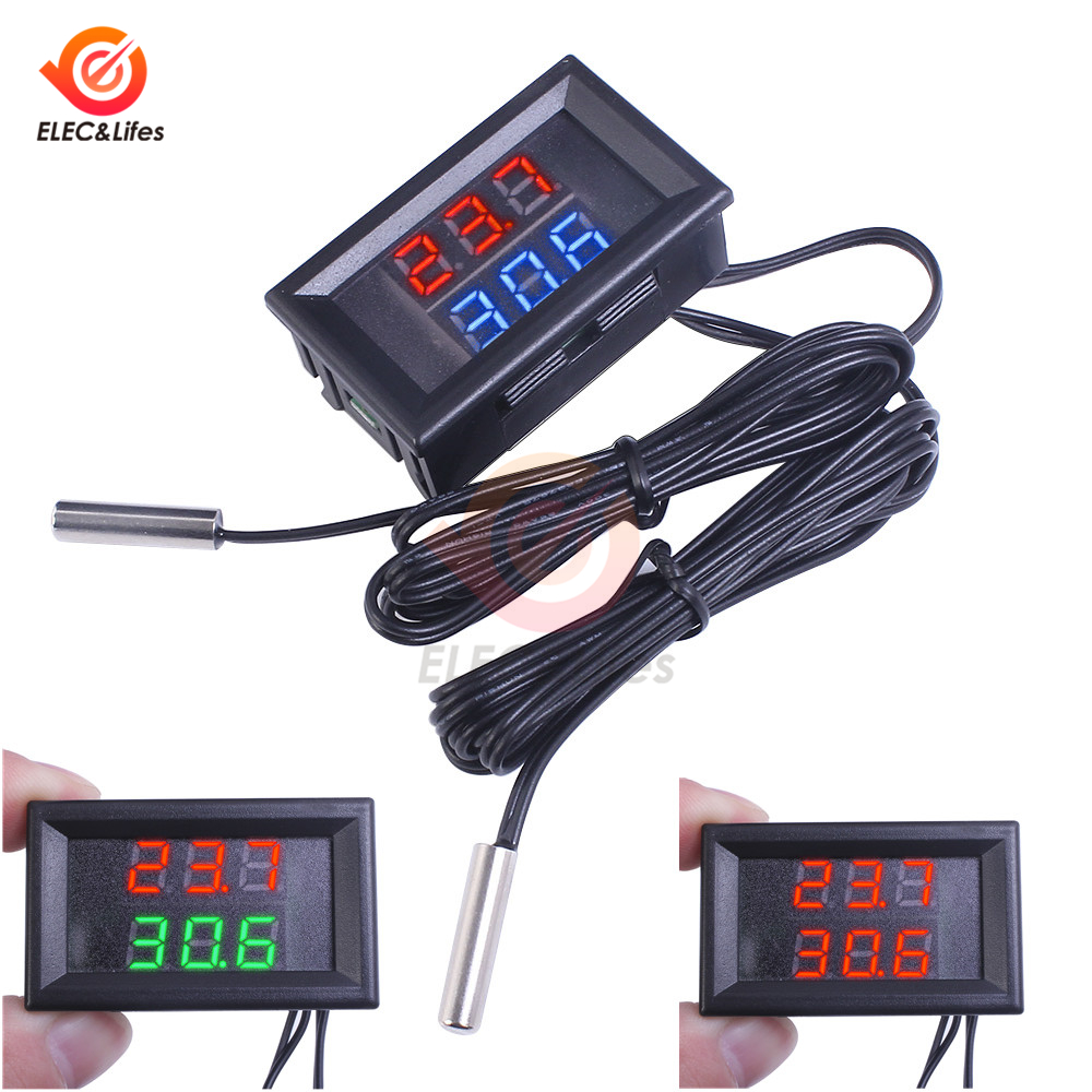 Electronic Thermostat LED Digital Display Temperature Controller W// Temp Sensor
