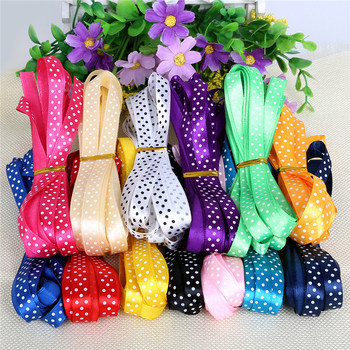 High Quality 14 Color 5yards/lot 10mm Glitter Dot Satin Ribbon Printed Polyester Ribbons Webbing for Sewing Craft Accessories