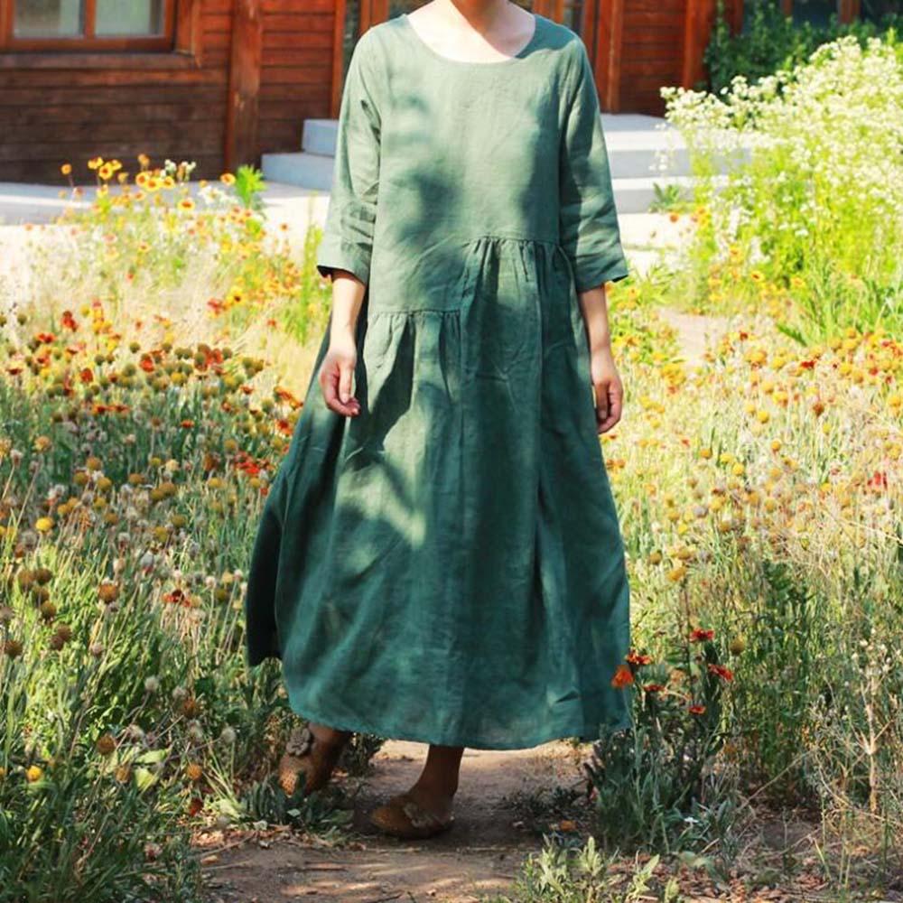 fc8f0404ebf Solide 2019 3 Ete Décontracté Color Grande 1 Demi 2 color Jurken Robe cou O  Femme Reflux D été Longue Taille Vert color Manches 0qS46