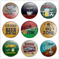 PIZZA ZONE Vintage Metal Signs Cafe Bar Pub Signboard Wall Decor Retro Plaque Beer Cake Plates Halloween Decor Gift 30CM R007