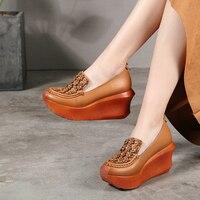 VALLU Handmade Shoes Women Pumps Platform Wedges Flower Genuine Leather Female High Heel Shoes 2019 Spring