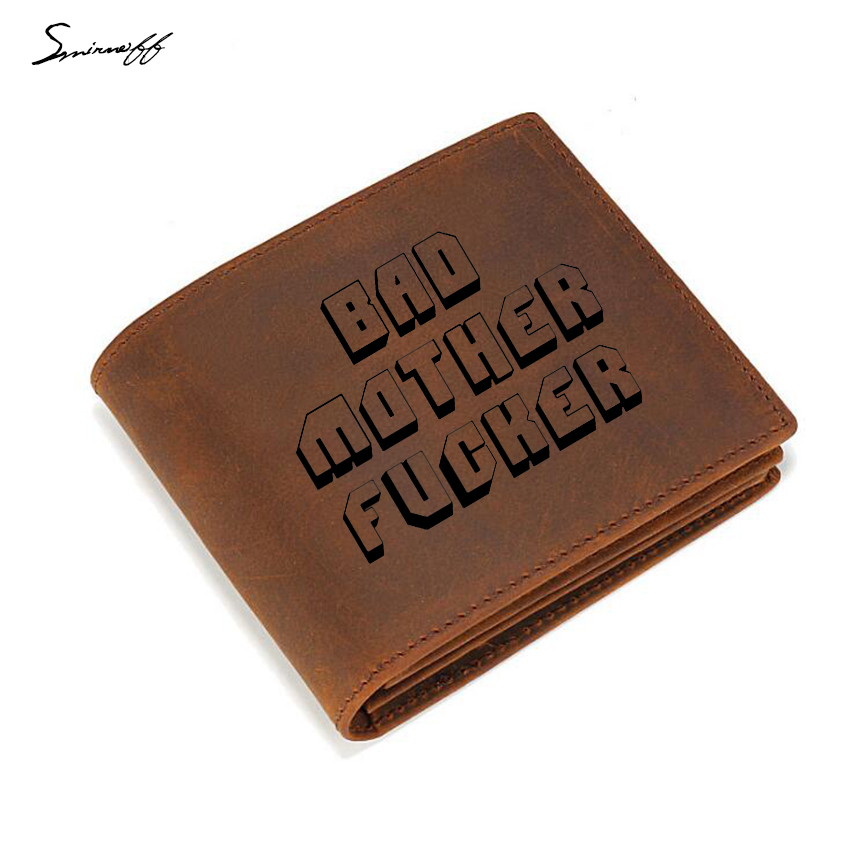 Genuine Leather Wallet Small Zip pocket purse Multi-function Credit ID card holder Engraved Bad Mother Letters men wallet