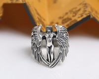 S925 Thai silver cross naked angel restoring ancient ways Ms male ring ring adorn article Christmas gift J122