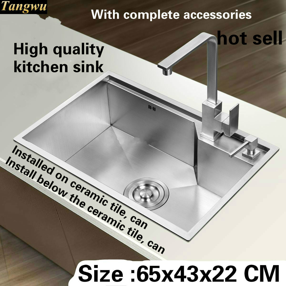 Tangwu Apartment Quality 4 Mm Thick Food-grade 304 Stainless Steel Kitchen Sink Better Handmade Single Slot Durable 65x43 CM