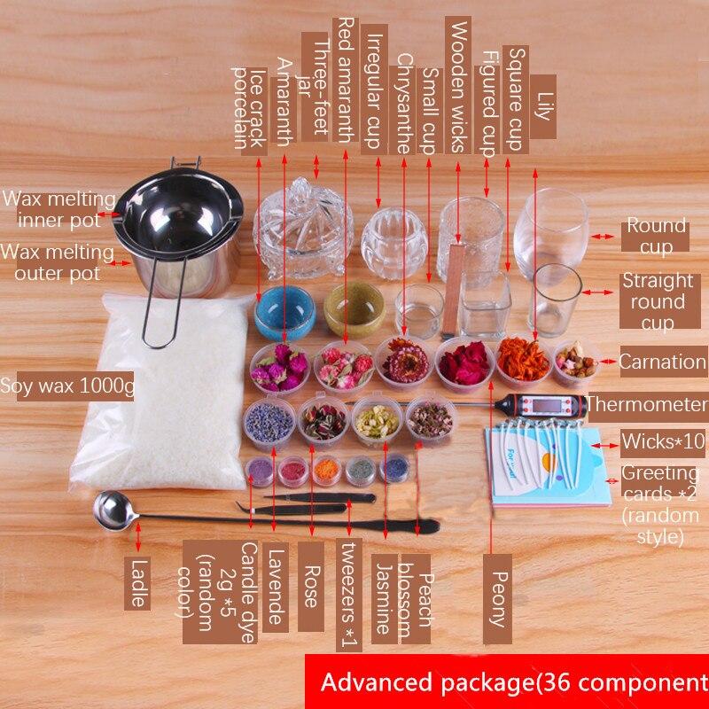 CHUANGGE bougie bricolage paquet ensemble cire de soja auto-fait bougie Kits paquet manuel outils de bricolage matériel aromathérapie Silicone moule - 5