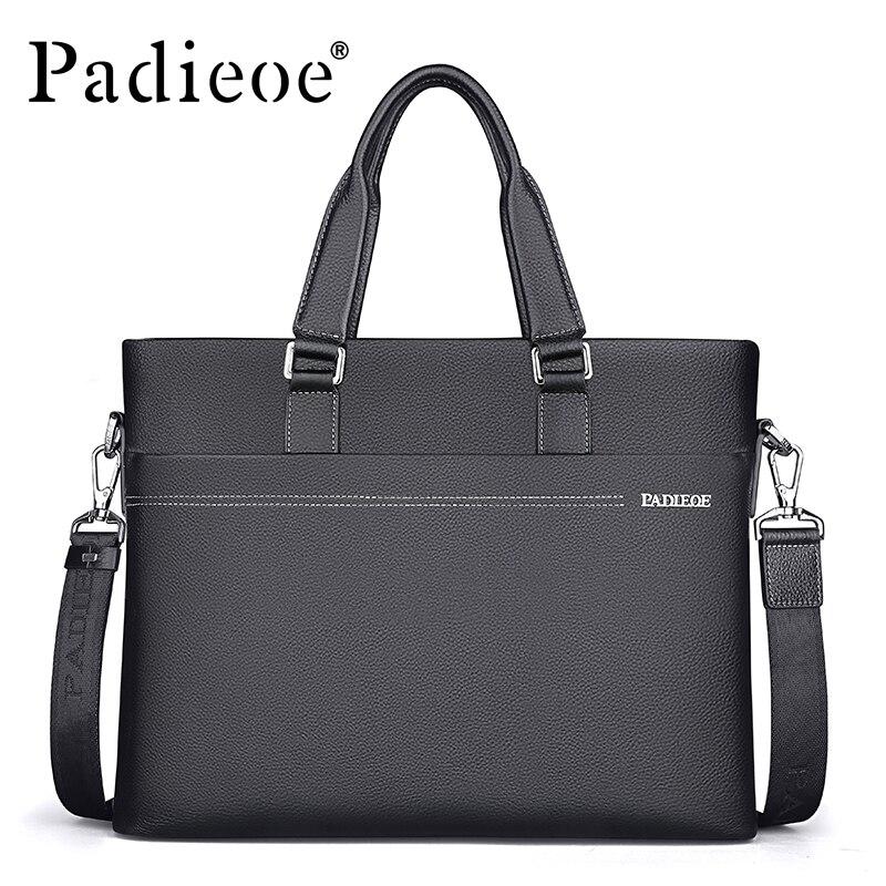Padieoe Briefcase Genuine-Leather Messenger-Bag Business Men's Casual Luxury Fashion