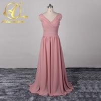 Demure Bridesmaid Dresses Shiny Sashes V Neck Rustic Long Bridal Dresses Pleat Chiffon Formal Party Gown