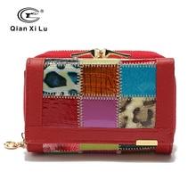 Qianxilu Marke Fashion Echtes Leder Patchwork Brieftasche Frauen Kleine Geldbörse Weiblichen Kurzen Design