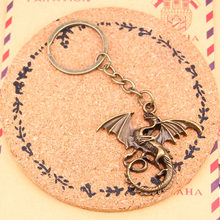New Fashion Bronze Pendant Metal Key Chains Accessory,28mm Key Ring Vintage magical winged dragon mythology Keychain(China)