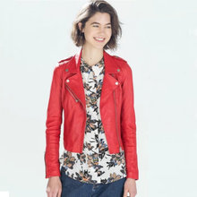 Women Brand Motorcycle Faux Leather Jackets Ladies Street PU Short Outerwear Red Black Epaulet Clothes Zipper Coat Drop Shipping