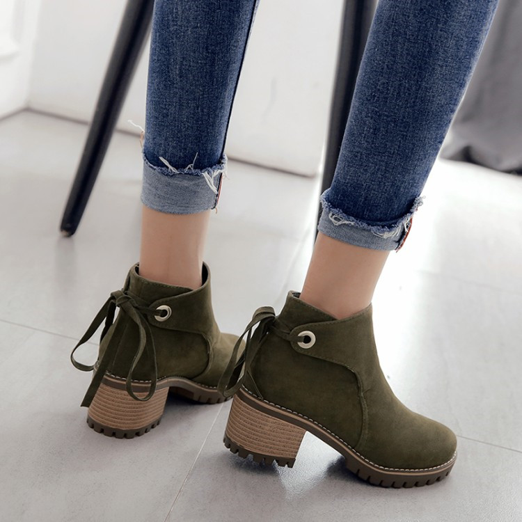 PXELENA 2018 Winter Comfort Casual Ankle Boots Women Round Toe Flock Square Thick High Heels Short Chelsea Boots Lady Shoes Hot