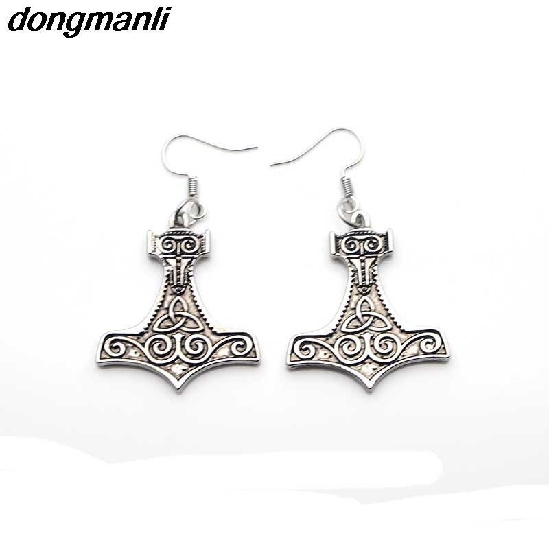 P258 dongmanli Thor hammer Mjolnir Viking Amulet Hammer Scandinavian Pendant Earrings Norse Jewelry