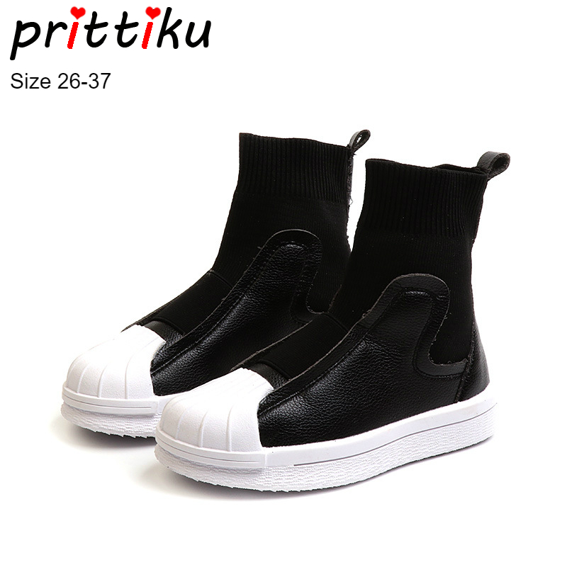 Autumn 2018 Girls Boys Fashion High Top Boot Sneakers Children Slip On Black Red Trainers Toddler/Little/Big Kid School Shoes winter 2018 girls boys plaid high top plush warm lined sneakers baby toddler little kid casual trainers children lace up shoes
