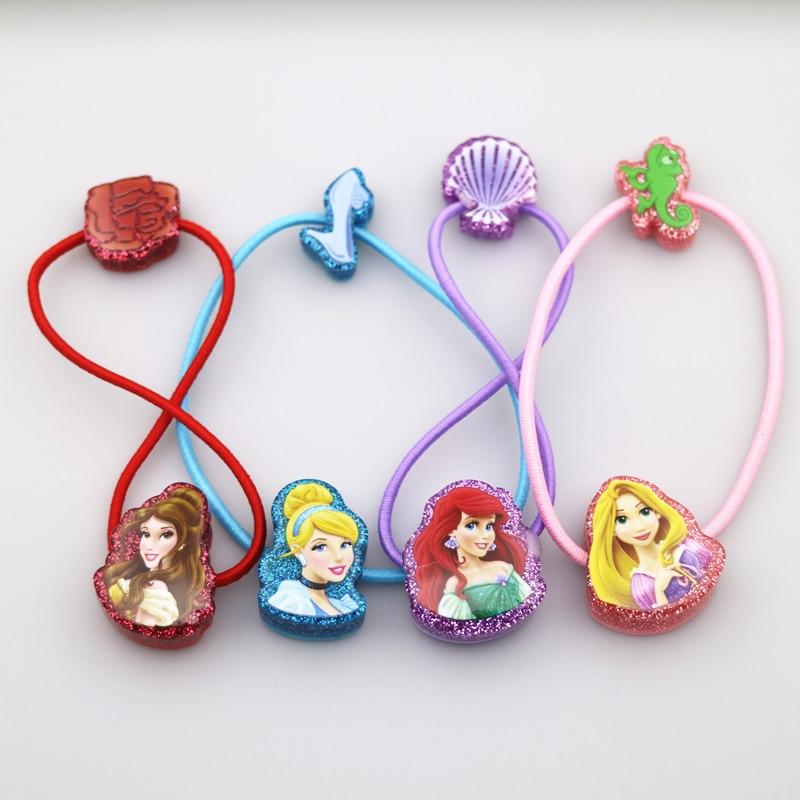 2PCS New Cute Princess Series Double Head   Headwear   Kids Elastic Hair Bands Children Ropes Girls Accessories Baby Headdress